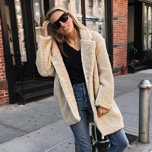 100% top quality how to buy speical offer H&M Jackets & Coats | Hm Short Pile Faux Fur Teddy Bear Coat ...